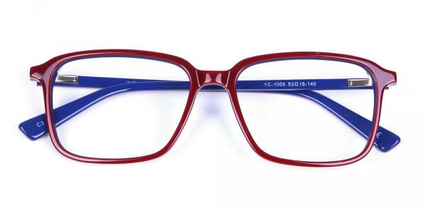 Wayfarer Designer Blue Red Eyeglasses -6