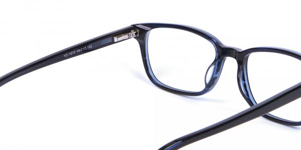 Designer Blue Rectangular Glasses - 4