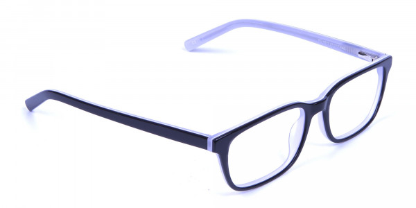 Unisex Black & White Rectangular Glasses - 1