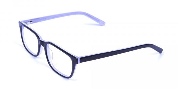 Unisex Black & White Rectangular Glasses - 2