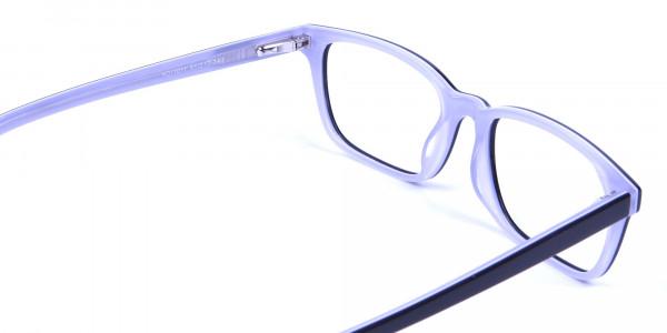 Unisex Black & White Rectangular Glasses - 4