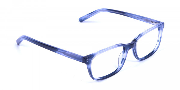 Tortoiseshell Blue Rectangular Glasses 1
