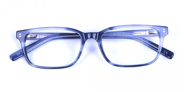 Tortoiseshell Blue Rectangular Glasses 5