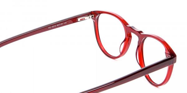 Cherry Red Round Glasses -5