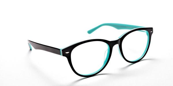 Black & Mint Round Eyeglasses-2