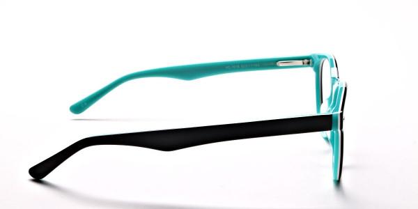 Black & Mint Round Eyeglasses -4