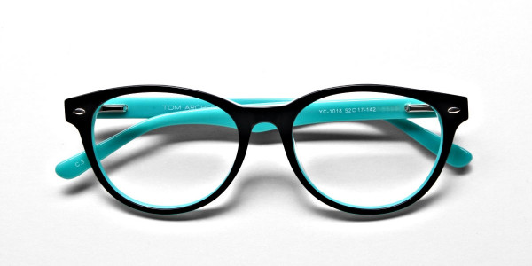 Black & Mint Round Eyeglasses -7