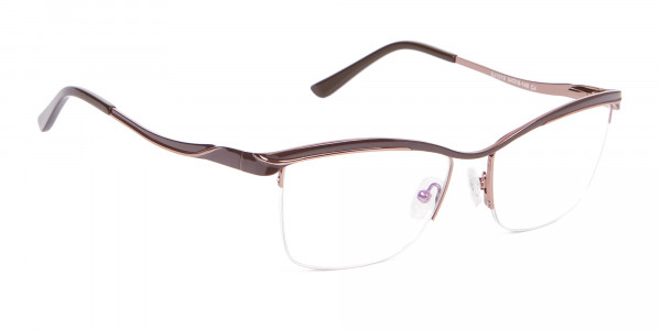Glossy Brown Browline Half-Rimmed Glasses-2