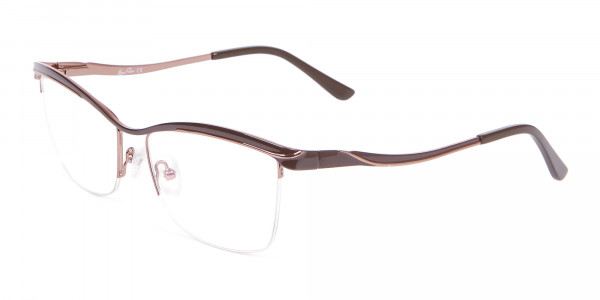 Glossy Brown Browline Half-Rimmed Glasses-3