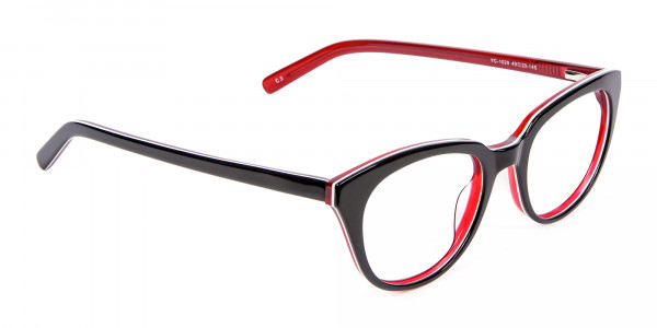 Fresh Look Cat Eye Glasses with Red and Black - 1