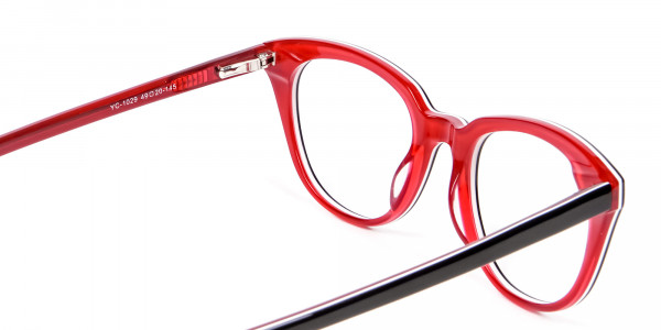 Fresh Look Cat Eye Glasses with Red and Black - 4