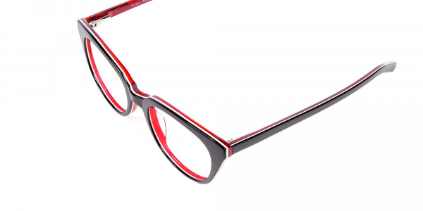 Fresh Look Cat Eye Glasses with Red and Black - 5