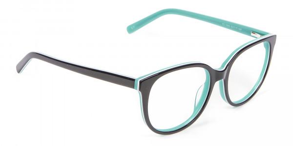 Wayfarer-Cateye Frame in Black and Mint Green - 1