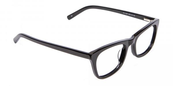 Bold Graphic Glossy Black Glasses - 1