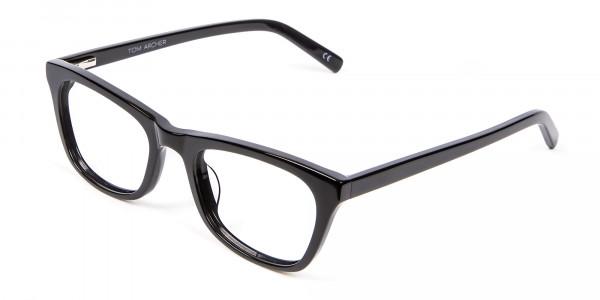 Bold Graphic Glossy Black Glasses - 2