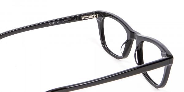 Bold Graphic Glossy Black Glasses - 4