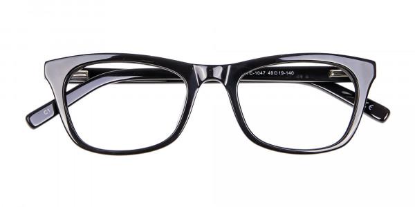 Bold Graphic Glossy Black Glasses - 5