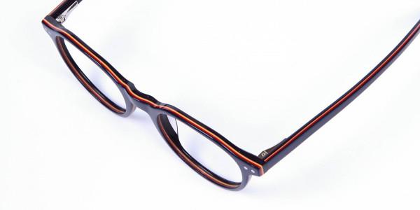 Black & Hints of Orange Eyeglasses - 5