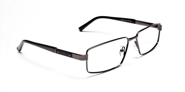 Rectangular Full-rim Black Gunmetal Frames -2