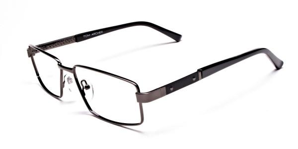 Rectangular Full-rim Black Gunmetal Frames -3