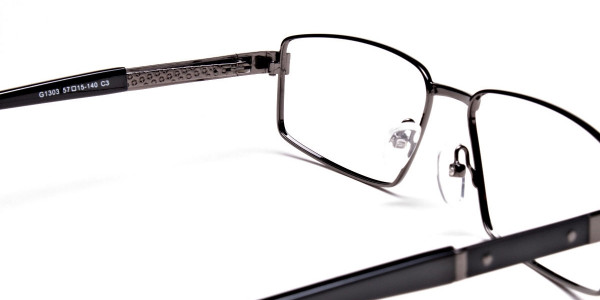 Rectangular Full-rim Black Gunmetal Frames -5