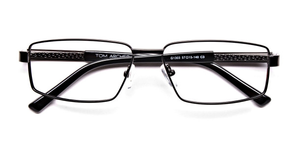 Rectangular Full-rim Black Gunmetal Frames -6