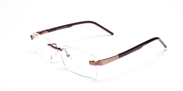 Brown Tone Rimless Glasses -3