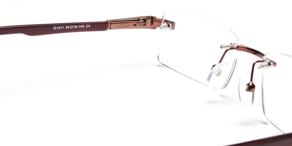 Brown Tone Rimless Glasses -5
