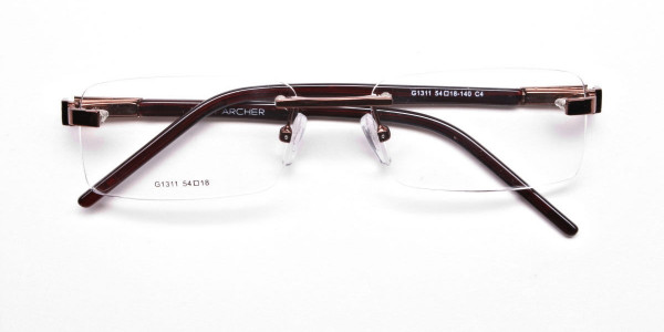 Brown Tone Rimless Glasses -6