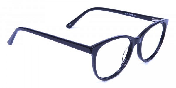 Smooth Curved Black Round Cat Eye Glasses  - 1