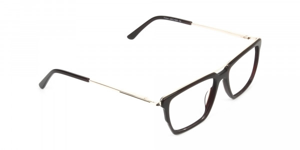 Dark Brown & Gold Double Bridge Glasses - 2