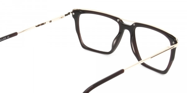 Dark Brown & Gold Double Bridge Glasses - 5