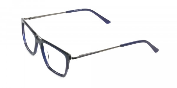 Mixed Material Glasses in Gunmetal Navy Blue - 3