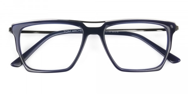 Mixed Material Glasses in Gunmetal Navy Blue - 6