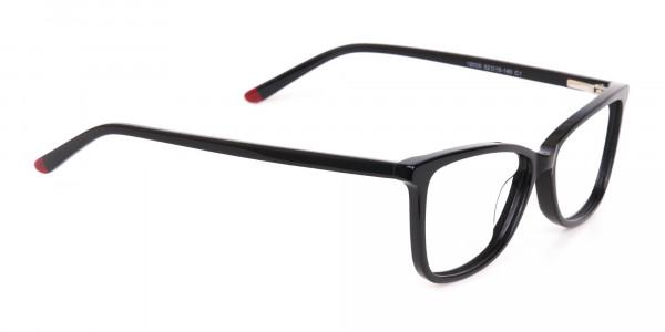 Black Cat-Eye Rectangular Eyeglasses Frame Women -2