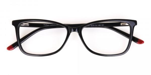 Black Cat-Eye Rectangular Eyeglasses Frame Women -6