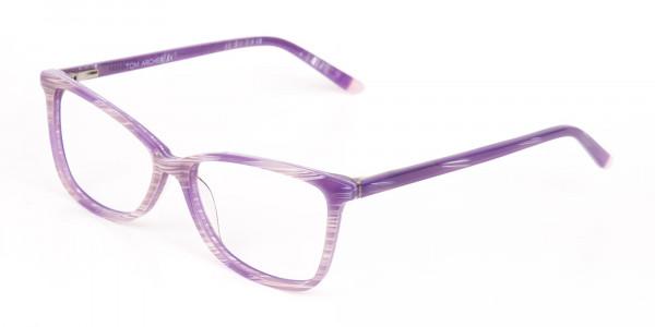 Purple Cat Eye Glasses with Lavender Stripes-3