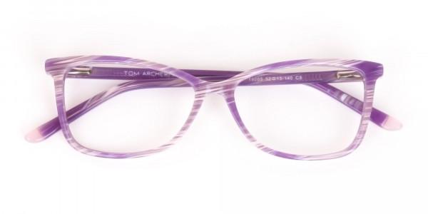 Purple Cat Eye Glasses with Lavender Stripes-6