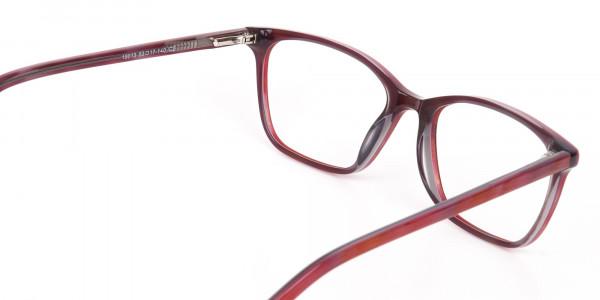 Rose Red Rectangular Acetate Eyeglasses Women-5