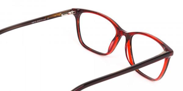 Dark Cherry Red Rectangular Glasses Frame Women-5