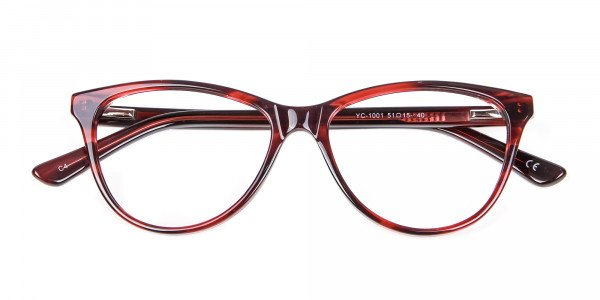 Designer Red Cat Eye Glasses for Women - 5