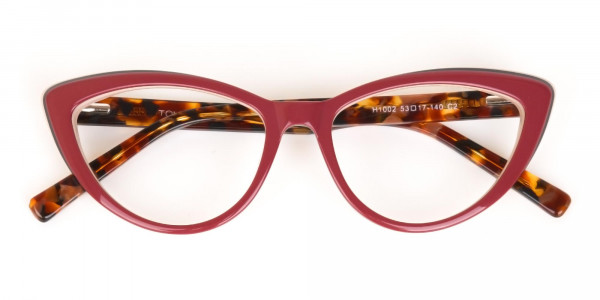 Red and Nude Tortoise Cat eye glasses Women-6