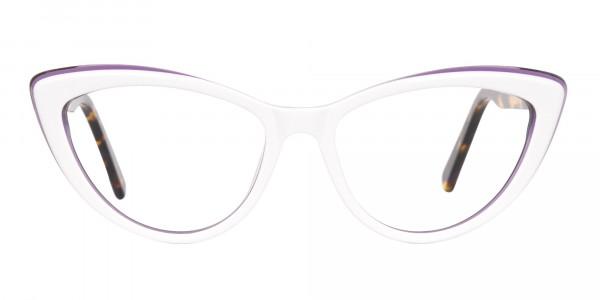 Daisy White & Violet Purple Tortoise Cat Eyeglasses Women-6