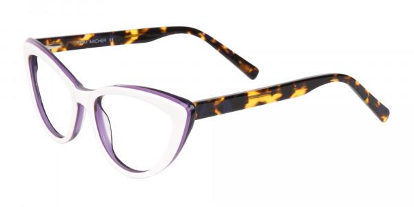 Daisy White & Violet Purple Tortoise Cat Eyeglasses Women-3