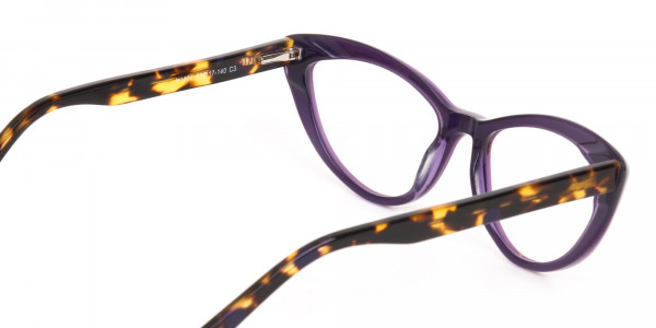 Daisy White & Violet Purple Tortoise Cat Eyeglasses Women-5