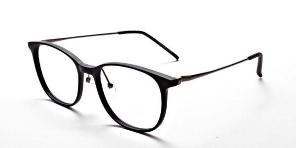 Matte Black Round Glasses, Eyeglasses -3