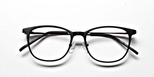 Matte Black Round Glasses, Eyeglasses -6
