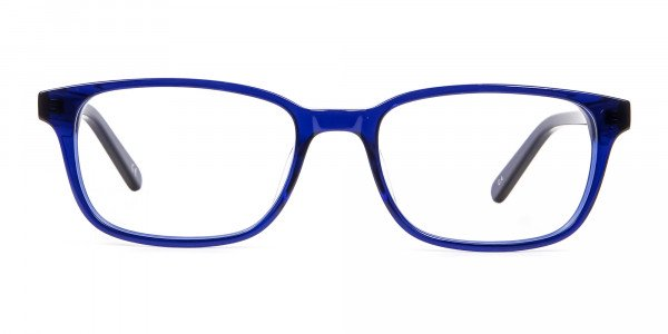 Men's and Women's Blue Rectangular Glasses - 5