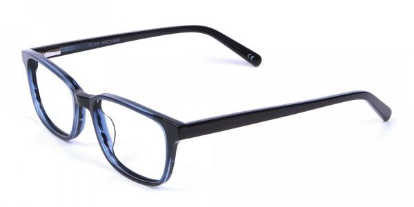 Designer Blue Rectangular Glasses - 2