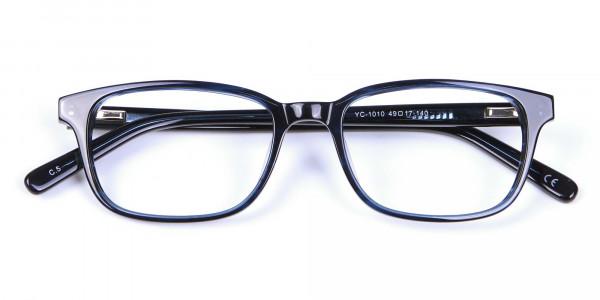 Designer Blue Rectangular Glasses - 5